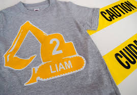 make a diy personalized construction birthday t shirt for a modern construction birthday party