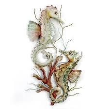 pair of seahorses capiz shell and metal