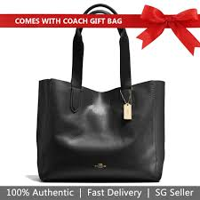coach tote with gift bag derby tote in pebble leather black oxblood gold f58660