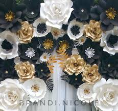 White Paper Flower Backdrop Black White And Gold Giant Paper Flower Backdrop By Brandi Nicole