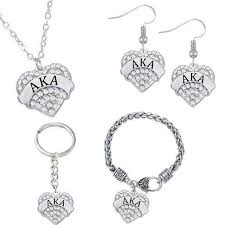 alpha kappa alpha heart jewelry set