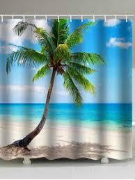beach palm tree print waterproof shower curtain