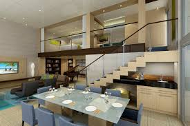 Open Living Room Designs Lofty Living With Open Two Story Interiors