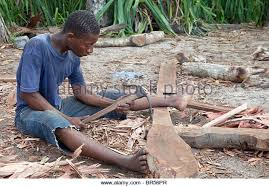 carpenters adze. nungwi, zanzibar, tanzania. dhow construction, boat building. carpenter working with an carpenters adze