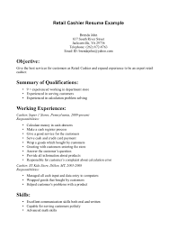 Retail Cashier Resume 1 Objective Example Summary Of