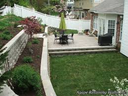 this rockwood retaining wall in ballwin mo is a classic wall design and installation to help level a backyard for the purpose of making more usable