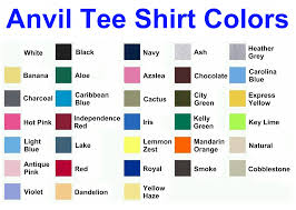 Fruit Of The Loom T Shirt Color Chart Common T Shirt Brands Tee Blank Color Swatches Tee Fetch