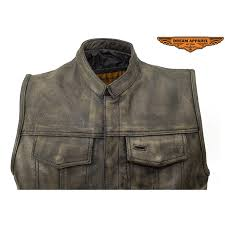 mens soa style motorcycle club distressed brown leather vest