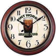 pint works irish pub wall clock