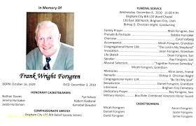 Memorial Pamphlet Template Free Funeral Service Program
