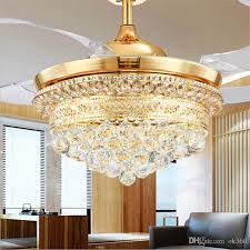 modern invisible blades ceiling fans crystal retractable belt pendant lamp with led lights folding ceiling fan dining room chandelier uk 2019 from ok360