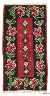 black red vintage moldavian kilim rug