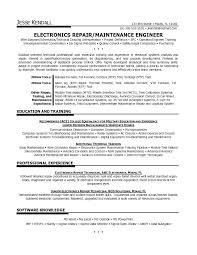 Electronic Engineer Cv Template Electronics Resume Format Ideas