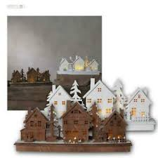 Details Zu Led Holzhaus Mit Timer Advent Weihnachtsdeko Fensterdeko Weihnachtshaus Haus