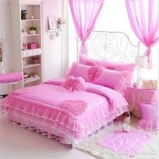 princess bedspread luxury cotton bedding sets polka dot lace kids crib bedding duvet with princess comforter
