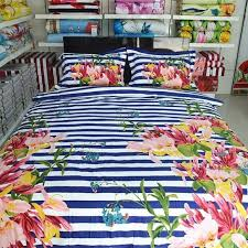 navy blue white raspberry red pink and green rugby stripe and flower print shabby chic full