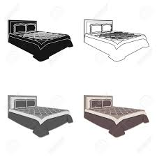 single bed top view. Top View Bedroom With Beige Wall.Large Double Bed Brown Plaid Bed.Bed Single
