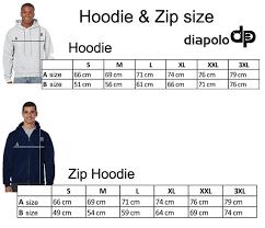 Us Hoodie Size Chart Taunton Hoodie Zip Blue