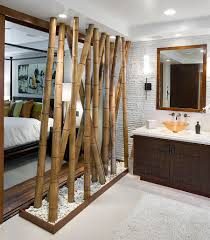 View in gallery Bamboo feature acts as a partition between the bedroom and  bath [Design: Arch-