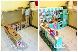 Decorating Cardboard Boxes DIY Cardboard Play Kitchen For Kids POPSUGAR Moms 37