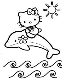 Small Picture Dolphin with Hello Kitty coloring page