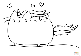 better coloring pages unicorn kawaii cat page free printable and pusheen