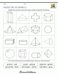 First Grade Geometry 2d And 3d Shapes Worksheets For Kindergarten ...