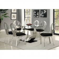 orla contemporary silver and black dining table set