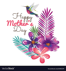 Mother Day Card Happy Mothers Day Card With Hummingbird And Floral