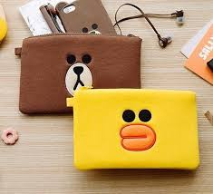 7 8 x 5 5 line friends brown sally pouch fabric phone wallet cosmetic bag ebay