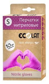 <b>Перчатки нитриловые</b>, <b>розовые</b>, размер S / EcoLat 10 шт
