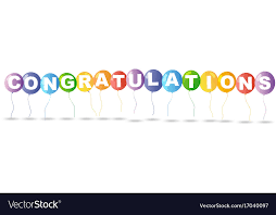 word of congratulations colorful balloons and word congratulations vector image