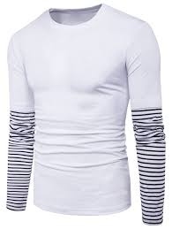 Faux Twinset Panel Design Shirt Striped Panel Design Faux Twinset Long Sleeve T Shirt