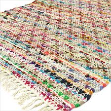 white multicolor chindi woven rag rug 3 x 5