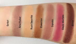 makeup geek eyeshadows in petal pusher simply marlena sorbet peach smoothie cupcake