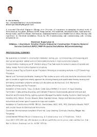 Construction Foreman Resume Electrical Samples Electrician
