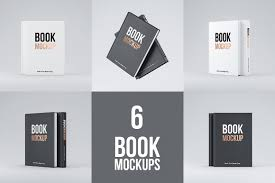 set of 6 books psd mockups with textured hard cover