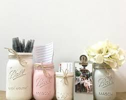 chic office decor. Rustic Mason Jar Desk Set For Women, Office Girls, Shabby Chic Decor