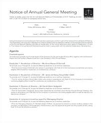 General Meeting Annual Announcement Template Notice Lupark Co