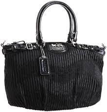Coach Madison Gathered Signature Sophia Satchel Bag Purse 18885 Black