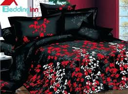 red and black duvet cover canada white and red flowers design with black background 4 piece