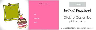 Printable Gift Certificates Templates Free Simple Child Birthday Gift Certificate Template First Place Award Childrens