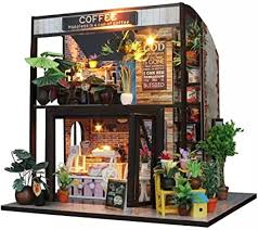 🍫 come try our brand new hot chocolate scone! Amazon Com Flever Dollhouse Miniature Diy House Kit Creative Room With Furniture For Romantic Valentine S Gift Time Of Coffee Toys Games