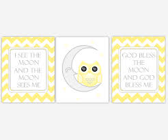 baby girls canvas nursery wall art yellow gray grey owl on the moon god bless the  on yellow and grey wall art nursery with baby girls canvas nursery wall art yellow gray grey owl on the moon