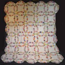 American Antique Quilt Tops For Sale - Vintage Quilt Tops & QT812 Double Wedding Ring with Green and White joining blocks Adamdwight.com