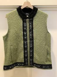Icelandic Design Icelandic Design Olive Green Wool Vest For Women Size Large Nwot Zhivago Vtg