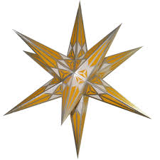 Hartenstein Christmas Star For Inside Use White Yellow With Silver 68 Cm 27 Inch