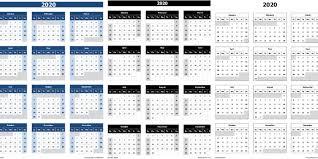 Microsoft Excel Calendar 2020 Download 2020 Yearly Calendar Sun Start Excel Template