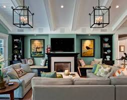 interior living room decorating with wall tv above fireplace design ideas and unique lighting decor
