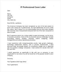 Cover Letter It Professional Sample Information Technology Cover Letter Template 8